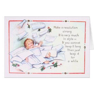 Carte Ange d'ange de houx de nouvelle année de bébé