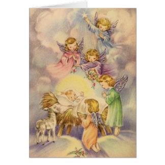 Carte Anges observant au-dessus du bébé Jésus