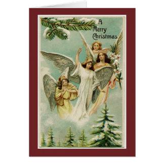 Carte Anges vintages de Joyeux Noël