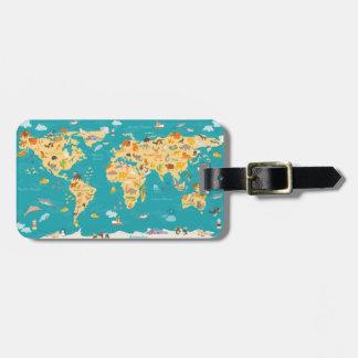 Carte animale du monde pour des enfants étiquette à bagage