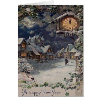Carte Année d'horloge de village d'hiver nouvelle
