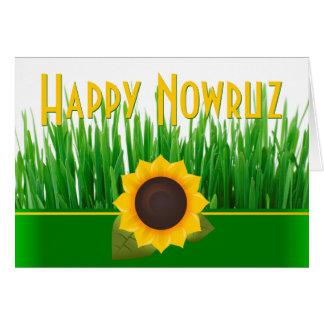 Carte Année iranienne Nowruz de tournesol vert de Sabzeh