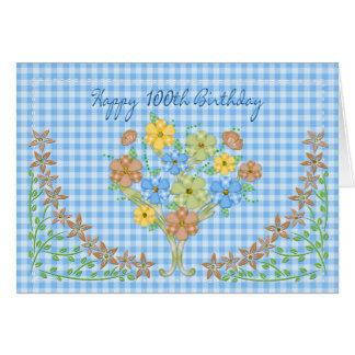 Carte ANNIVERSAIRE - 100th - GINGHAM/FLOWERS BLEU