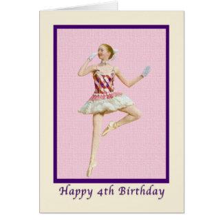 Carte Anniversaire, 4ème, ballerine dans le rose et