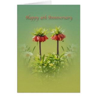 Carte Anniversaire, 4ème, tulipes rouges de Rubra