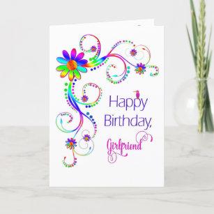 Carte Anniversaire, amie, couleurs Floral-Vives