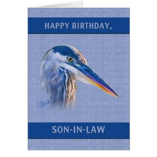 Carte Anniversaire, beau-fils, héron de grand bleu
