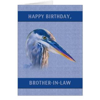 Carte Anniversaire, beau-frère, héron de grand bleu
