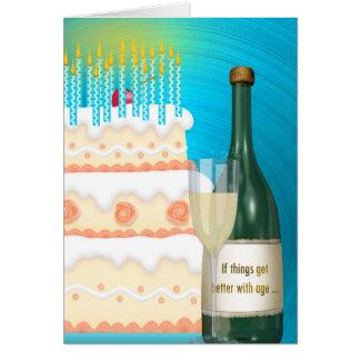 Carte Anniversaire Champagne et gâteau