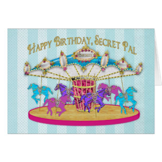Carte Anniversaire - copain secret - carrousel