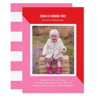Carte Anniversaire de enfant de photo de bloc de couleur