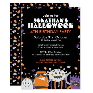 Carte Anniversaire de enfant Halloween Invit de monstres