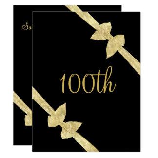 Carte Anniversaire de Faux d'arcs élégants d'or 100th