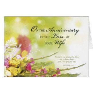 Carte Anniversaire de la perte d'épouse, la mort, fleurs