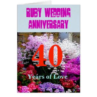Carte Anniversaire de mariage de 40 rubis avec une