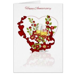 Carte Anniversaire de mariage rouge avec Champagne et