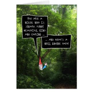 Carte Anniversaire de nièce, gnome humoristique dans la