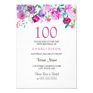 Carte Anniversaire de pourpre de menthe de fleurs roses