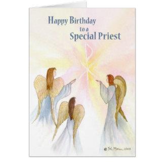 Carte Anniversaire de prêtre, anges religieux