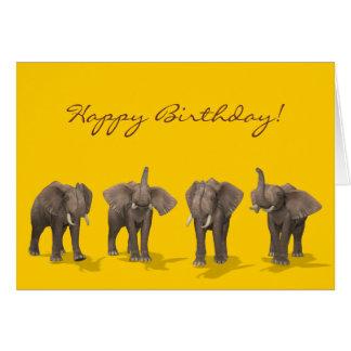Carte Anniversaire de quartet d'éléphants joyeux