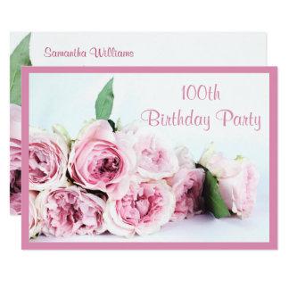 Carte Anniversaire de roses roses romantiques 100th
