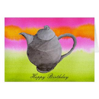 Carte Anniversaire de style bohème de thé de théière