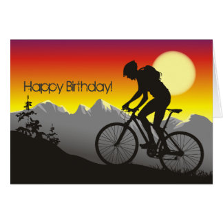 Carte Anniversaire de vélo de montagne de silhouette