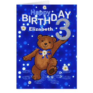 Carte Anniversaire d'ours de nounours de danse 3ème pour