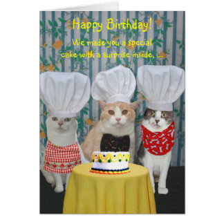Carte Anniversaire drôle de chats de chef