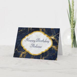Carte Anniversaire élégant moderne de marbre de bleu