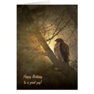 Carte anniversaire-faucon dans l'arbre