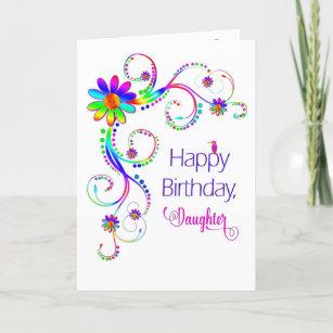 Carte Anniversaire, fille, couleurs Floral-Vives