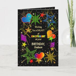 Carte Anniversaire, FILLEUL, galaxie abstraite, colorée