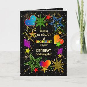 Carte Anniversaire, filleule, galaxie abstraite, coloré