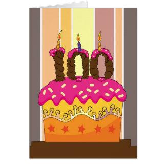 Carte anniversaire - gâteau avec la bougie 100 - 100th