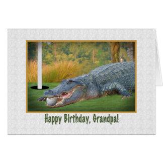 Carte Anniversaire, grand-papa, golf, alligator
