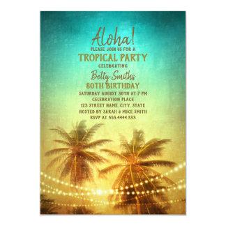 Carte Anniversaire hawaïen de Luau de palmier tropical