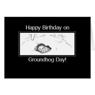 Carte Anniversaire le jour de Groundhog noir et blanc
