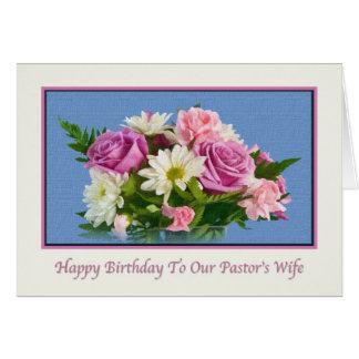 Carte Anniversaire, l'épouse du pasteur, fleurs, oiseaux