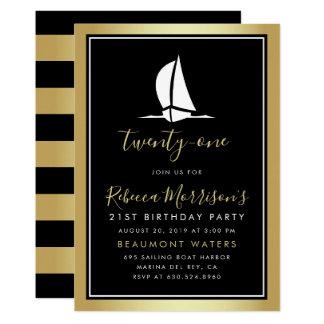 Carte Anniversaire noir et blanc d'or formel de bateau à