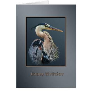 Carte Anniversaire, oiseau de héron de grand bleu en