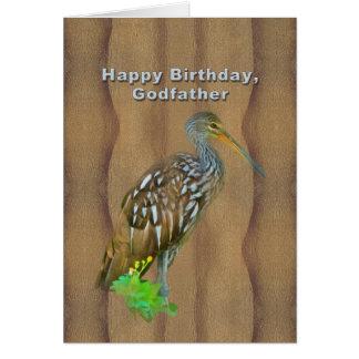Carte Anniversaire, parrain, oiseau de marais de Limpkin