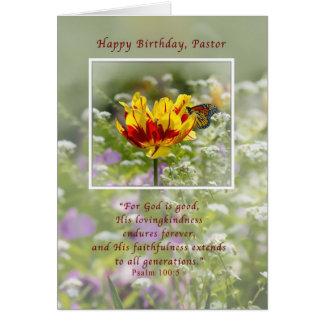 Carte Anniversaire, pasteur, tulipe et papillon,