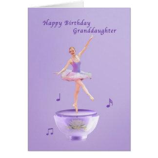 Carte Anniversaire, petite-fille, ballerine de boîte à