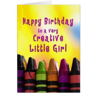 Carte Anniversaire - petite fille - créatif - crayons