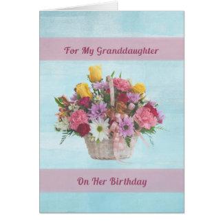 Carte Anniversaire, petite-fille, fleurs colorées dans
