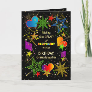 Carte Anniversaire, PETITE-FILLE, galaxie abstraite,