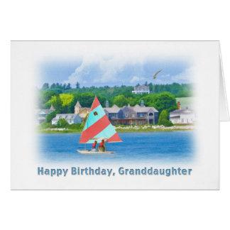 Carte Anniversaire, petite-fille, voilier sur un lac