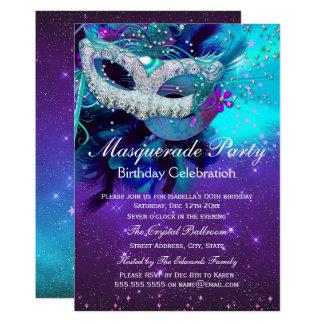 Carte Anniversaire pourpre turquoise de mascarade de