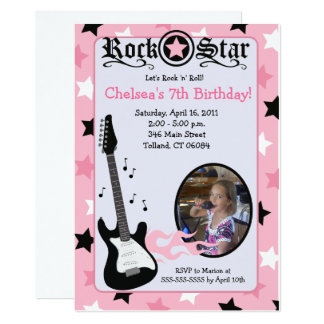 Carte Anniversaire rose 5x7 de *PHOTO* de guitare de